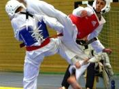 WTF Taekwondo Sparring Match, 2008. Mazyar Sajjadi performing a reverse on his opponent.