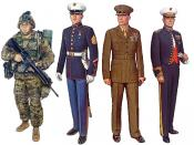 Collage of United States Marine Corps uniforms, made from combining individuals from plates I, IV, V, and XIV of the USMC uniform plates series