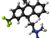 Ball-and-stick model of the fluotracen molecule, a tricyclic antidepressant and antipsychotic drug. Colour code (click to show) : Black: Carbon, C : White: Hydrogen, H : Blue: Nitrogen, N : Yellow-green: Fluorine, F