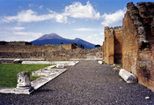 English: Mount Vesuvius as seen from Pompeii. Hi-res scan from large-format print, scaled down to avoid the Wikimedia issue with images > 12.5 MP.