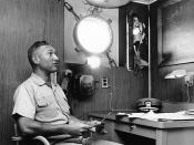 Commander sits in damaged cabin / US Navy photo Caption formerly at top read: :Photo # NH 97474 Cdr. W.L. McGonagle in his cabin on board USS Liberty, June 1967