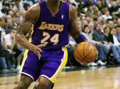 Kobe Bryant of the Los Angeles Lakers drives to the basket against the Washington Wizards in Washington, D.C., USA on February 3, 2007