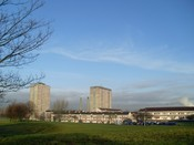 English: Highrise flats in Prospecthill Viewed from Prospecthill Road. This housing scheme was the location for a Sony Bravia television advert - in which several paint cans exploded to Gioachino Rossini's The Thieving Magpie - although the exact building