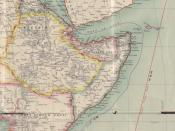 Part of a historic map of Africa, showing especially the Horn of Africa region in the middle. Made by Sir Edward Hertslet (1824-1902), published in London 1909.