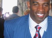 English: Football Hall of Famer Deion Sanders in 2008. Cropped from original Flickr image.