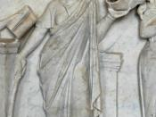 "Thalia, muse of comedy, holding a comic mask. Detail from the ""Muses Sarcophagus"", representing the nine Muses and their attributes. Marble, first half of the 2nd century AD, found by the Via Ostiense."