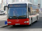 This is a photo of a Dubai Bus (Route X25), sitting in Dubai Marina in Dubai, United Arab Emirates, on 26 December 2007. The bus is a Mercedes-Benz Citaro.