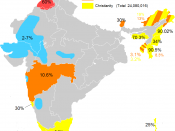 A map of the minority religions of India (excluding Islam, as that requires a map of its own, since Islam is spread throughout the subcontinent)