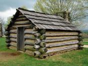 A replica of a cabin in which soldiers would have lived at Valley Forge (unknown date)