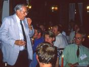 Brian Aldiss to the left (standing). Science fiction convention Intercon, 1994.