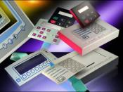 English: Electronic membrane switches for use in input/output devices - some have flex tails attached
