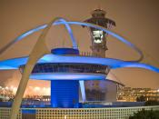The theme restaurant and control tower at Los Angeles International Airport (LAX).