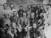 English: Councillors of the Provisional Government of the Métis Nation. Front row, L-R: Robert O'Lone, Paul Proulx. Centre row, L-R: Pierre Poitras, John Bruce, Louis Riel, John O'Donoghue, François Dauphinais. Back row, L-R: Bonnet Tromage, Pierre de Lor