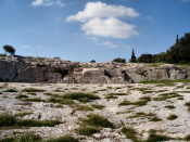 The Pnyx with speaker's platform in Athens, upon which Theramenes and other politicians stood while speaking.