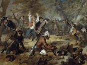 English: Oil on canvas painting depicting the Wyoming Massacre, July 3, 1778.