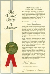 English: United States Patent Cover from a real patent issued