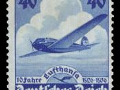 Airmail stamp for 10 years of Lufthansa :*Graphics by Karl Diebitsch :*Ausgabepreis: 40 Pfennig :*First Day of Issue / Erstausgabetag: 6. Januar 1936 :*Michel-Katalog-Nr: 603 (Deutsches Reich)