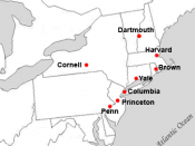 Locations of Ivy League Conference full member institutions.