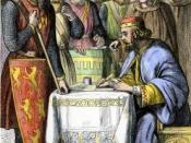 King John of England signing Magna Carta on June 15, 1215, at Runnymede; coloured wood engraving, 19th century.
