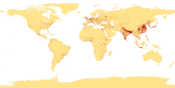 Population density (people per km 2 ) map of the world in 1994.
