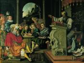 English: Painting depicting a lecture in a knight academy, painted by Pieter Isaacsz or Reinhold Timm for Rosenborg Castle as part of a series of seven paintings depicting the seven independent arts. This painting illustrates Rhetorics.