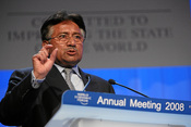 DAVOS/SWITZERLAND, 24JAN08 - Pervez Musharraf, President of Pakistan, captured during the session 'Three Crucial Questions for the President of Pakistan, Pervez Musharraf' at the Annual Meeting 2008 of the World Economic Forum in Davos, Switzerland, Janua