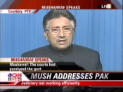 President Musharraf addresses Pakistan for the first time since state of emergency was announced, shown here on CNN-IBN.