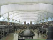 Denver International Airport's signature roofline as seen from the interior.