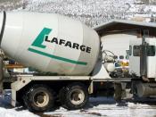 A rear discharge concrete transport truck