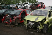 English: Scrap car bodies