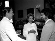 Steven Spielberg with President Ronald Reagan and Nancy Reagan after a showing of E.T. at the White House