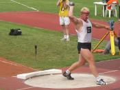 Remigius Machura senior (Czech athlete - shot put) aged 45 (!) at 2005 Championships of the Czech Republic in athletics, Sletiště Stadium in Kladno, Czech Republic.