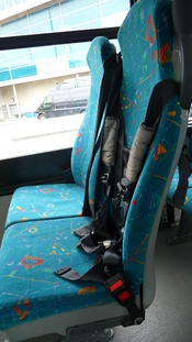 English: Part of the interior of Wightbus 5803 (HW54 DCU), a Dennis Dart SLF/Plaxton Pointer 2, while it waited on Stand F of Newport, Isle of Wight, bus station for the departure time of route 29. Route 29 was withdrawn with the 5 September 2010 timetabl