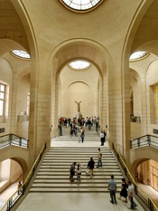 Daru Staircase with the winged Nike Victory of Samothrace, Denon wing, Louvre Museum.