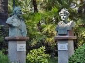 English: Busts of King Victor Emmanuel III and Queen Elena; frontyard of the Russian Orthodox Church (Church of Christ the Saviour, St. Catherine and St. Seraph). Sanremo, Italy