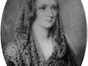 Reginald Easton painted this miniature portrait of Mary Shelley, on a flax coloured background. It incorporates a circlet backed by blue, the same seen in the Rothwell painting and a shawl. Seymour, p543 Abinger Collection