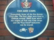 A blue plaque marking the site of the UK's first chip shop, on Oldham's Tommyfield Market. Taken by D. McClure in June 2007. Creative Commons 2.5 Licence.