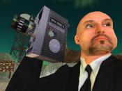 English: Douglas Gayeton and his avatar, Molotov Alva, meet inside the virtual world called