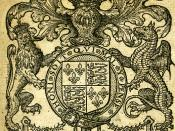 Engraving of Queen Elizabeth I's Coat of Arms, from a parliamentary pamphlet dated 1581