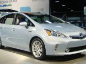 English: Toyota Prius V hybrid electric car exhibited at the 2011 Washington Auto Show