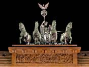 "restored quadriga atop Brandenburg Gate ►pale-verdigris gateway build-up (""horses'-herma"") in gloomy night◄"