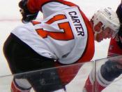 Jeff Carter of the Philadelphia Flyers during the 2006-07 season against the New York Rangers.