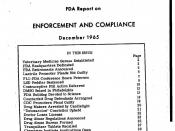 English: December 1965 FDA Report on Enforcement and Compliance