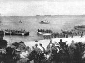The Australian 4th Battalion lands at the Gallipoli Peninsula on 25 April 1915.