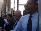 English: Barack Obama stops in Altoona, Pennsylvania on March 28, 2008