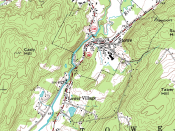 Topographic map of Stowe, Vermont. The brown contour lines represent the elevation. The contour interval is 20 feet.