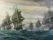 English: Depiction of the Second Battle of the Virginia Capes (Battle of the Chesapeake). Original is on display at the Hampton Roads Naval Museum, Norfolk, VA.