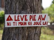 English: Sign in Guadeloupe creole on tree in a residental area (Lamarre, unincorporated) near Sainte Anne, Guadeloupe, France. Traduction: