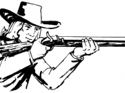 English: A man holding a blunderbuss.