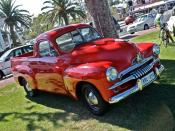 English: Holden FJ Utility in red at the 50th Anniversary of the Holden FB.